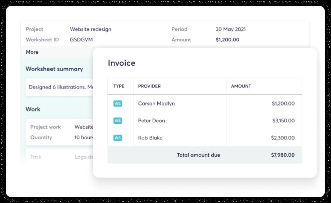 Screenshot showing invoice