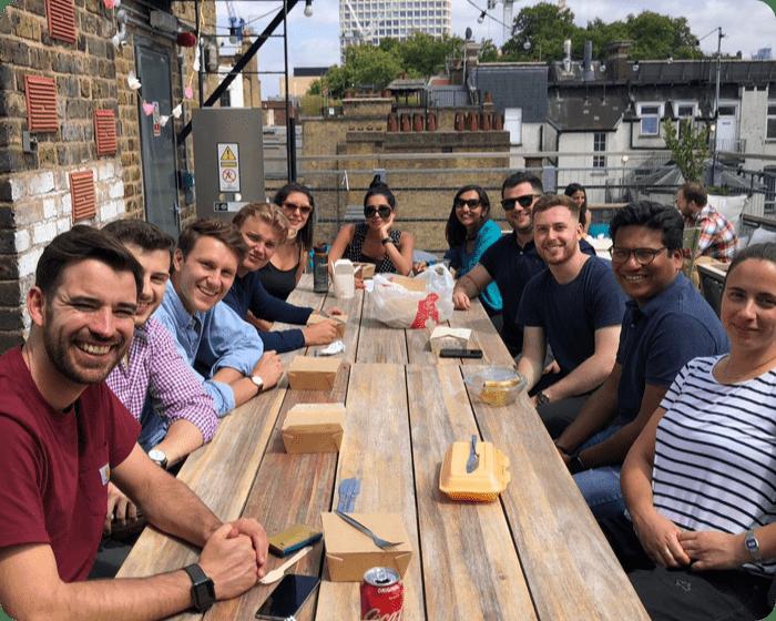 team having lunch
